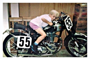 Rob Hall, age nine, on his father's BSA, which they still race.
